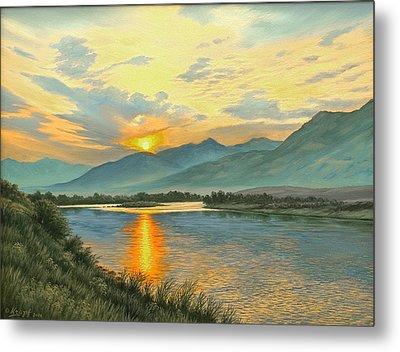 Smoky Sunrise-yellowstone River   Metal Print by Paul Krapf