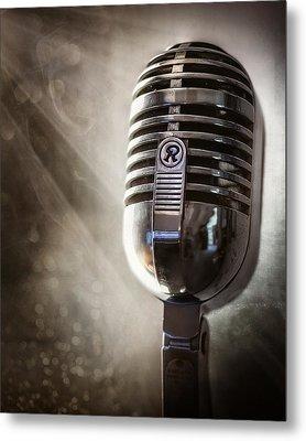 Smoky Vintage Microphone Metal Print