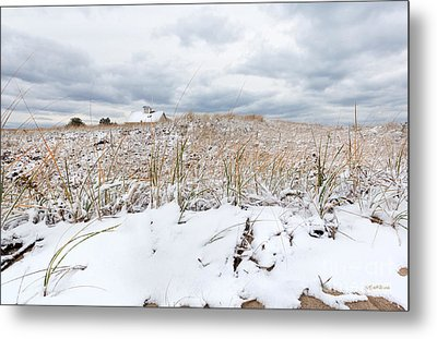 Smuggler's Beach Snow Cape Cod Metal Print by Michelle Wiarda