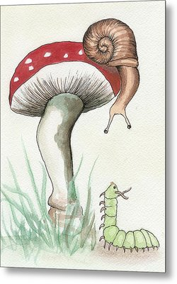 Snail And Caterpillar Metal Print by Melissa Rohr Gindling