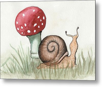 Snail And Mushroom Metal Print by Melissa Rohr Gindling