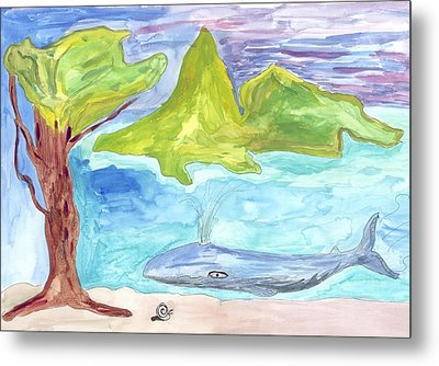 Metal Print featuring the painting Snail And Whale by Helen Holden-Gladsky