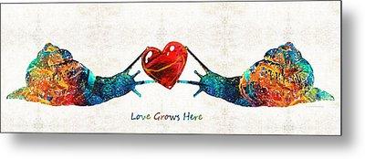 Snail Art - Love Grows Here - By Sharon Cummings Metal Print