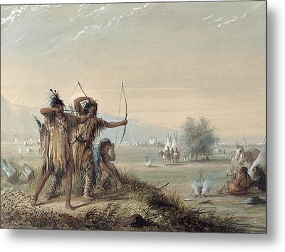Snake Indians Testing Bows Metal Print by Alfred Jacob Miller