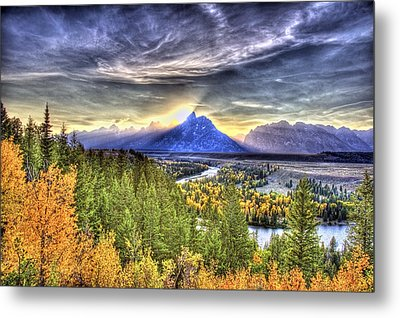 Snake River Over Look Fall Sunset Metal Print