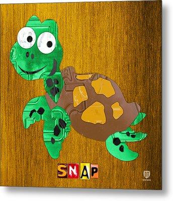 Snap The Sea Turtle License Plate Art Metal Print