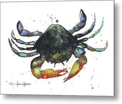 Snappy Crab Metal Print by Alison Fennell
