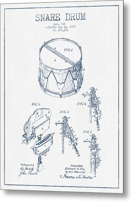 Snare Drum Patent Drawing From 1889 - Blue Ink Metal Print