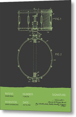 Snare Drum Patent From 1939 - Gray Green Metal Print by Aged Pixel