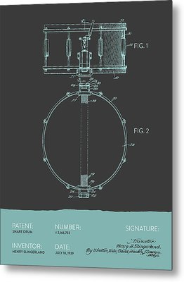 Snare Drum Patent From 1939 - Modern Gray Blue Metal Print by Aged Pixel