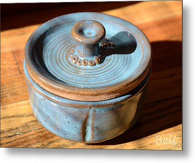 Snickerhaus Pottery-vessel With Lid Metal Print by Christine Belt