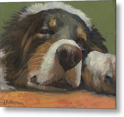 Metal Print featuring the painting Snoozing by Alecia Underhill