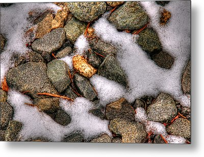 Snow Among The Rocks Metal Print by Andy Lawless