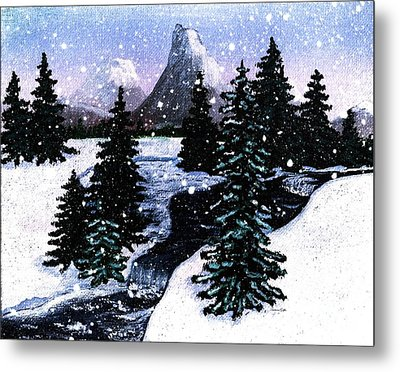 Snow And A Cold Mountain Brook Painterly  Metal Print by Barbara Griffin
