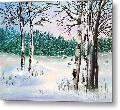 Snow And Trees Metal Print