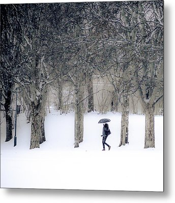 Woman With Umbrella Walking In Park Covered With Snow Metal Print by Aldona Pivoriene