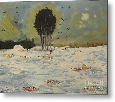 Metal Print featuring the painting Snow At Christmas by Pamela  Meredith