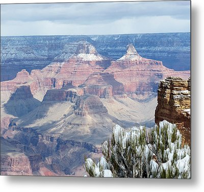 Snow At The Grand Canyon Metal Print by Laurel Powell