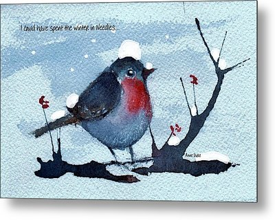 Metal Print featuring the painting Snow Bird From Needles by Anne Duke