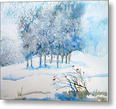 Snow Blizzard In The Grove  Metal Print
