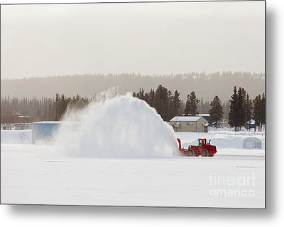 Snow Blower Clearing Road In Winter Storm Blizzard Metal Print by Stephan Pietzko
