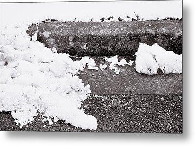Snow By The Kerb Metal Print by Tom Gowanlock
