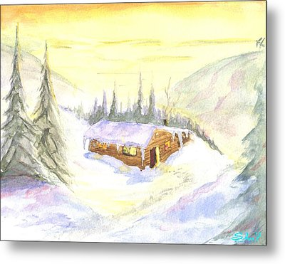 Metal Print featuring the painting Snow Cabin Welcome by Sherril Porter