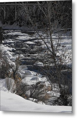 Snow Capped Stream Metal Print by Adam Cornelison