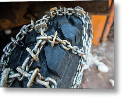 Snow Chains On A Snow Plough Metal Print by Ashley Cooper