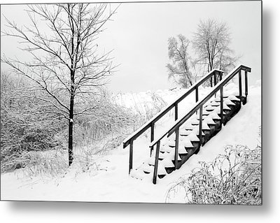 Snow Cover Stairs Metal Print