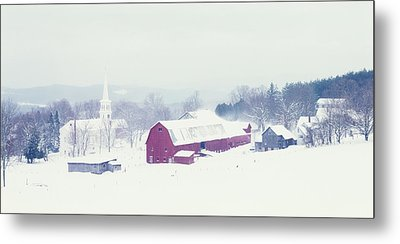 Snow Covered Barn And A Church Metal Print by Panoramic Images