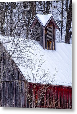 Snow Covered Barn Metal Print by Wayne Meyer