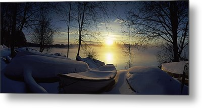 Snow Covered Boats At The Riverside Metal Print by Panoramic Images