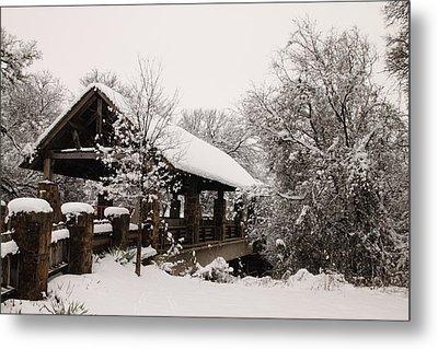 Snow Covered Bridge Metal Print by Robert Frederick