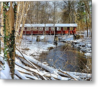Metal Print featuring the photograph Snow Covered Bridge by Janice Drew