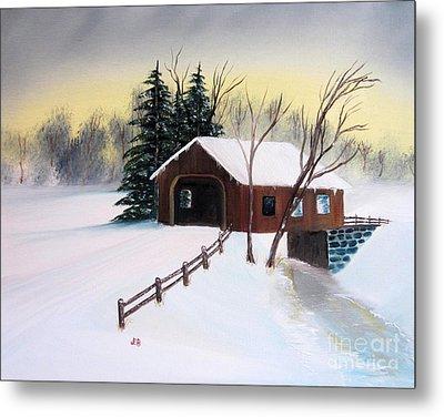 Snow Covered Bridge Metal Print by John Burch