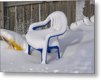 Snow Covered Chair Metal Print by Thomas Woolworth
