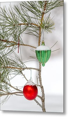 Snow Covered Christmas Ornaments Metal Print