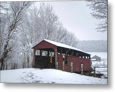 Snow Covered Covered Bridge Metal Print