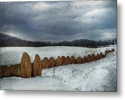 Snow Covered Hay Bales Metal Print by Kathy Jennings