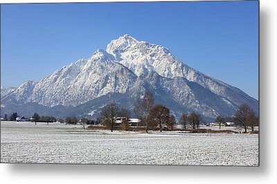 Snow Covered Mountain Metal Print by Laura Watts