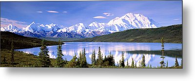 Snow Covered Mountains, Mountain Range Metal Print