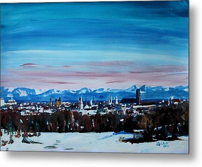 Snow Covered Munich Winter Panorama With Alps Metal Print