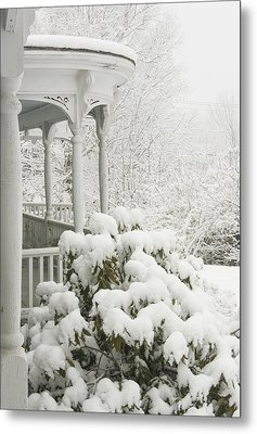 Snow Covered Porch Metal Print by Keith Webber Jr