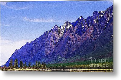 Snow Covered Purple Mountain Peaks Metal Print by PainterArtist FIN