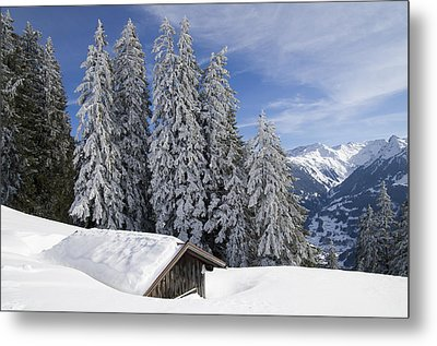 Snow Covered Trees And Mountains In Beautiful Winter Landscape Metal Print by Matthias Hauser