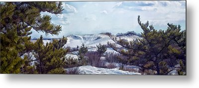 Metal Print featuring the photograph Snow Covered Dunes by Constantine Gregory