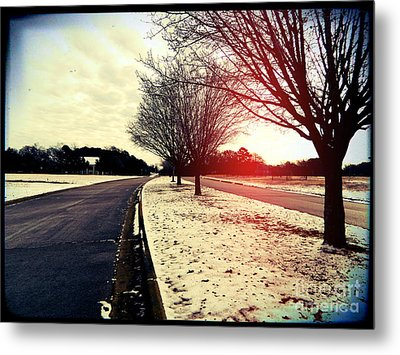 Snow Day In Texas Metal Print by Jose Benavides