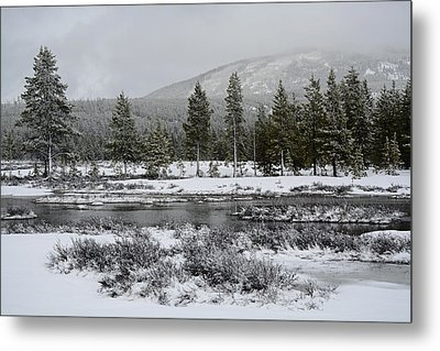Snow-dusted Gibbon Meadows In Yellowstone Metal Print by Bruce Gourley