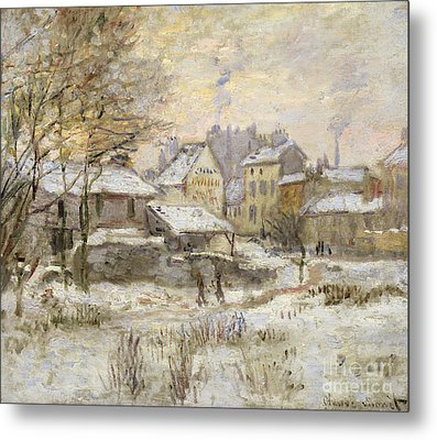 Snow Effect With Setting Sun Metal Print by Claude Monet